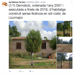 War in Mallorca to illegal urbanism based on fines and demolitions